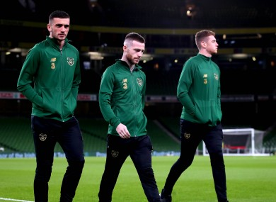 Ireland internationals Troy Parrott (left) and Jack Byrne (centre).
