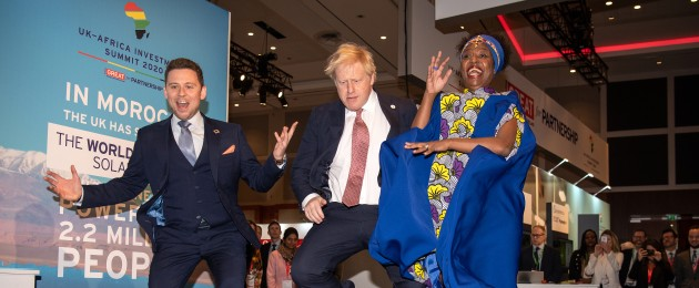 British Prime Minister Boris Johnson visiting the Pavegen stand, a company that converts footsteps into energy, at the UK-Africa Investment Summit in London today.