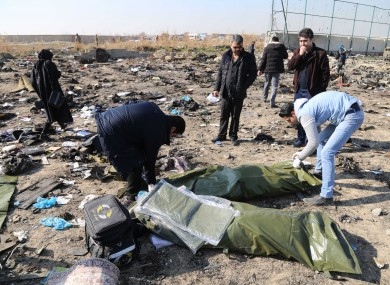 Search and rescue workers near Imam Khomeini Airport in Iran