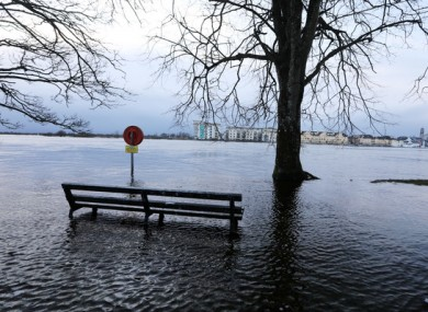 Extensive flooding along the River Shannon