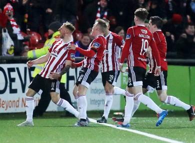 Derry's Adam Liddle celebrates his injury time goal.