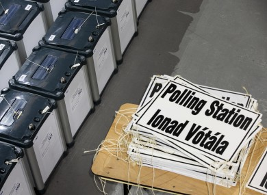 Ballot boxes pictured in a secure warehouse in Dublin yesterday ahead of the general election tomorrow.