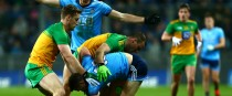 Dublin and Donegal players tussle for possession.