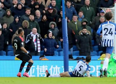 Crystal Palace's Jordan Ayew scores.