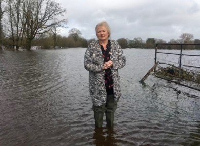 Clonlara resident Bridget Kinsella stands in the floodwater that has crept within a few metres of her home
