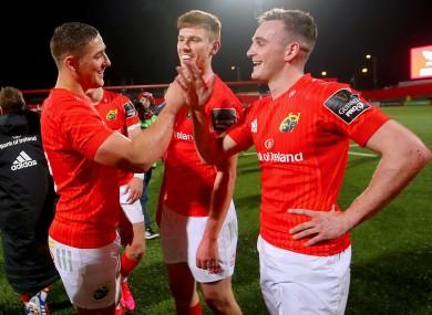 Munster celebrate their win last week over the Kings.
