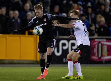 Tim Nilsen of Derry pictured playing against Dundalk on Friday.