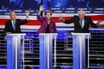 Michael Bloomberg, Elizabeth Warren and Bernie Sanders during last night's debate.