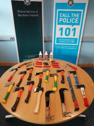 The weapons seized by police in Strabane today