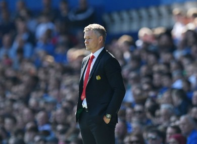 Solskjaer watches on as United were humiliated 4-0 at Goodison Park last season.