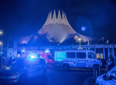 Emergency services in front of the Tempodrom venue in Berlin after the shooting