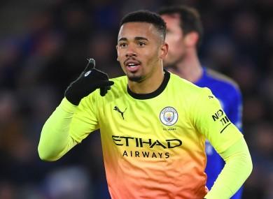 Gabriel Jesus celebrates after scoring for Manchester City