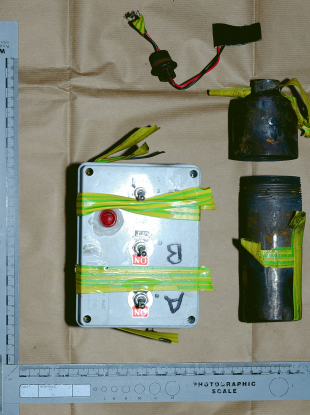 The bomb parts which were strapped to a truck.