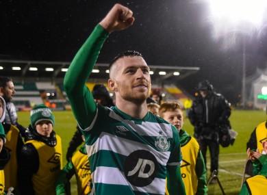 Jack Byrne celebrates after the match.