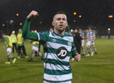 Byrne celebrates after victory against Dundalk.