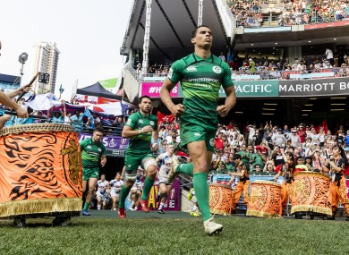 Ireland take to the pitch at the 2019 Hong Kong Sevens.