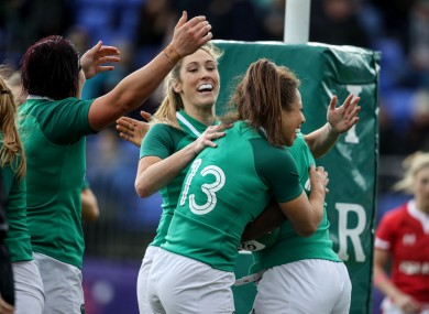 Eimear Considine with her Irish teammates during the Wales game.