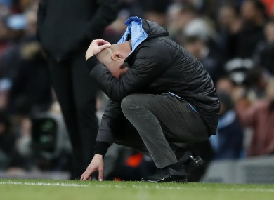 Pep Guardiola, reacting during the Carabao Cup semi-final second leg against Manchester United.
