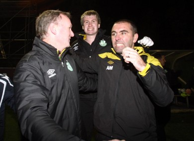 Andy Myler (right) celebrates with Michael O'Neill during his Shamrock Rovers coaching days.
