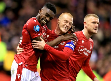 Sammy Ameobi celebrates after scoring for Forest.