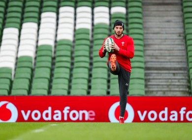 Owen Williams warming up at the Aviva.