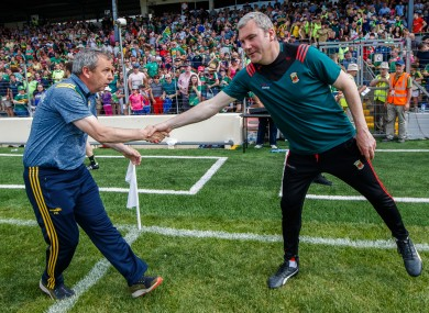 Reunited: Kerry's manager Peter Keane and James Horan of Mayo.