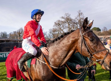 Rachael Blackmore celebrates winning with A Plus Tard at the Leopardstown Christmas Festival.