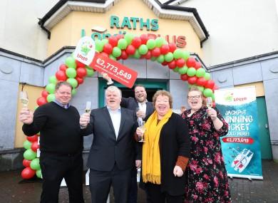 Pictured at the shop celebrations were from left: James Rath; Willie Rath; David Rath; Bridget Rath and Ann-Marie Rath.
