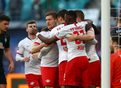 RB Leipzig celebrate during their win over Werder Bremen