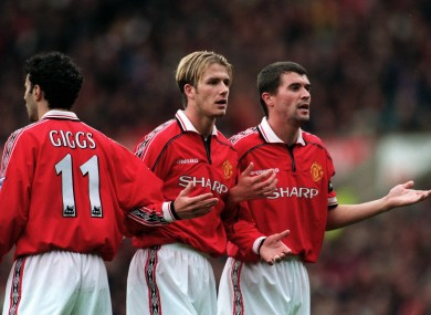 Ryan Giggs, David Beckham, and Roy Keane in a Premiership game against Wimbledon in 1998.