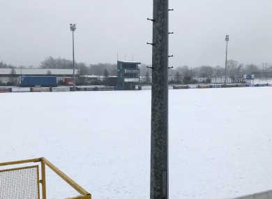 The pitch at Finn Park this morning.