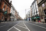 Day two of the lockdown. An empty Dame Street in Dublin's city centre on a Sunday afternoon.
