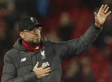 Jurgen Klopp applauds the Anfield crowd after the game.