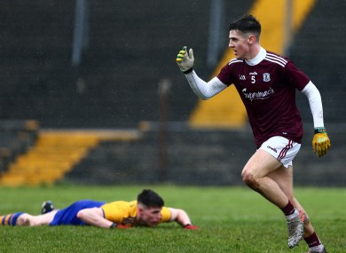 Cian Monahan celebrates one of four Galway goals.