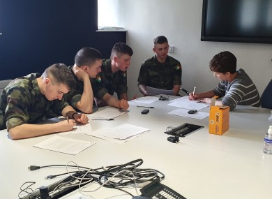 Army cadets receiving contact tracing training.