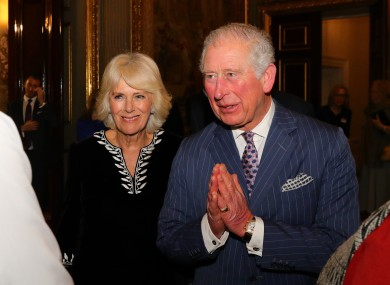 The Prince of Wales and the Duchess of Cornwall greeting guests during the Commonwealth Reception at Marlborough House, London earlier this month.
