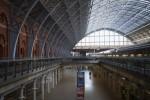 An empty London St Pancras International railway station.