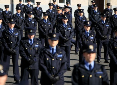 Commissioner Drew Harris inspects the 319 new Gardai during an attestation ceremony at the Garda Training College in Templemore, Co Tipperary.