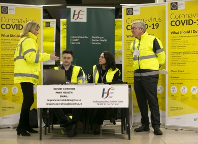 Enviromental Health Service HSE team at Dublin Airport activating the public awareness campaign for COVID-19.