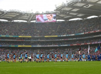 The Dublin and Galway teams ahead of last year's senior Ladies All-Ireland final.