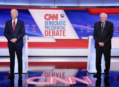 Joe Biden (left) and Bernie Sanders (right) during last night's Democratic presidential primary debate