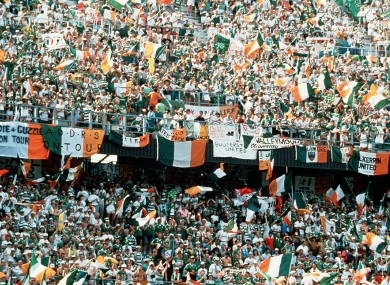 Irish fans at the 1990 World Cup.