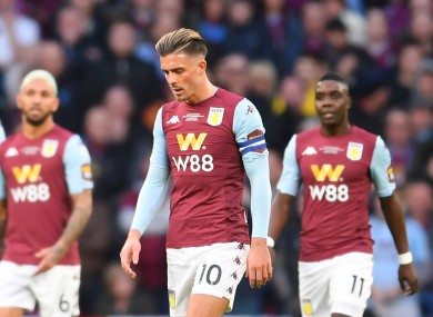 Jack Grealish looked dejected during his side's loss to Man City.
