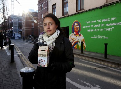 Bertita Zuniga Caceres, with a mural of her mother behind, at the launch of Trocaire's Lenten Appeal this year.