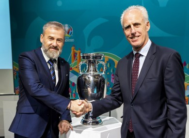 Slovakia manager Pavel Hapal and Republic of Ireland manager Mick McCarthy.