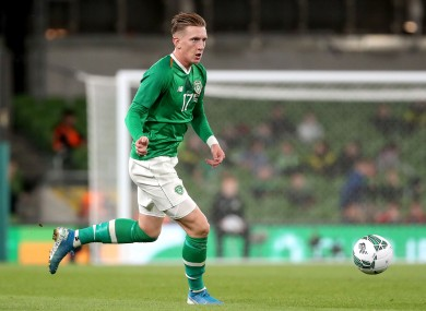 Ronan Curtis in possession during Ireland's win against Bulgaria last September.