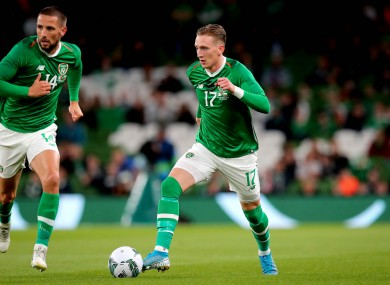 Ronan Curtis in possession for Ireland during last September's friendly win against Bulgaria.