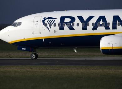A Ryanair plane at Dublin airport earlier this month.