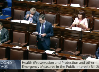 Health Minister Simon Harris in the Dáil today