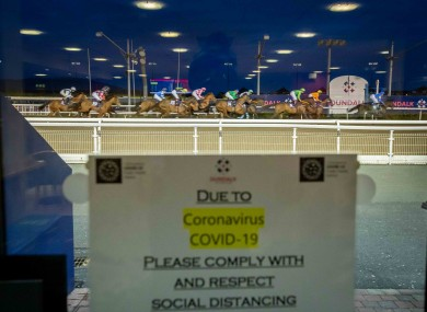Racing taking place without spectators at Dundalk last Friday.